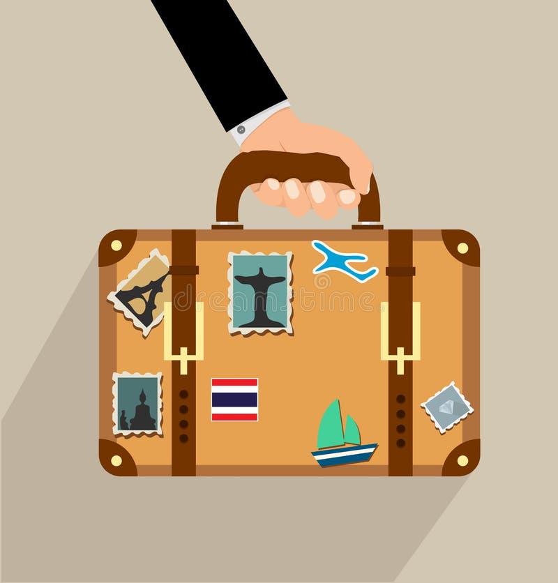 Valise avec des autocollants à disposition illustration libre de droits
