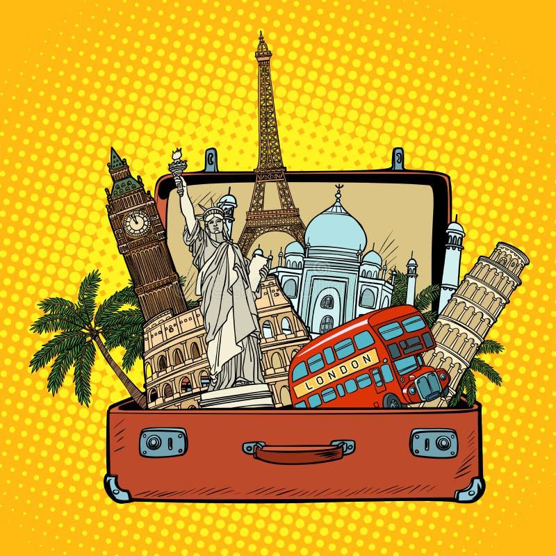 Valise avec des points de repère du monde Concept de tourisme et de voyage illustration de vecteur
