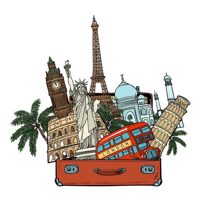 Valise avec des points de repère du monde Concept de tourisme et de voyage Isolat illustration libre de droits