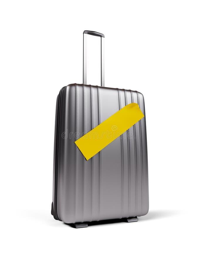 Valise avec l'autocollant jaune vide d'isolement sur l'illustration 3d blanche illustration stock