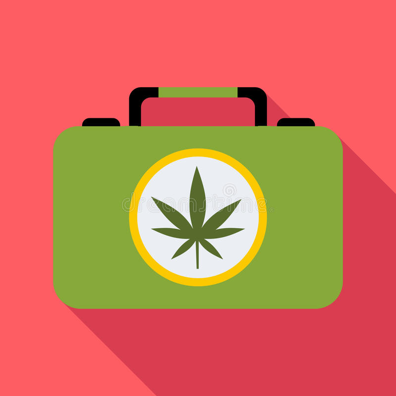 Valise avec l'icône de marijuana, style plat illustration stock