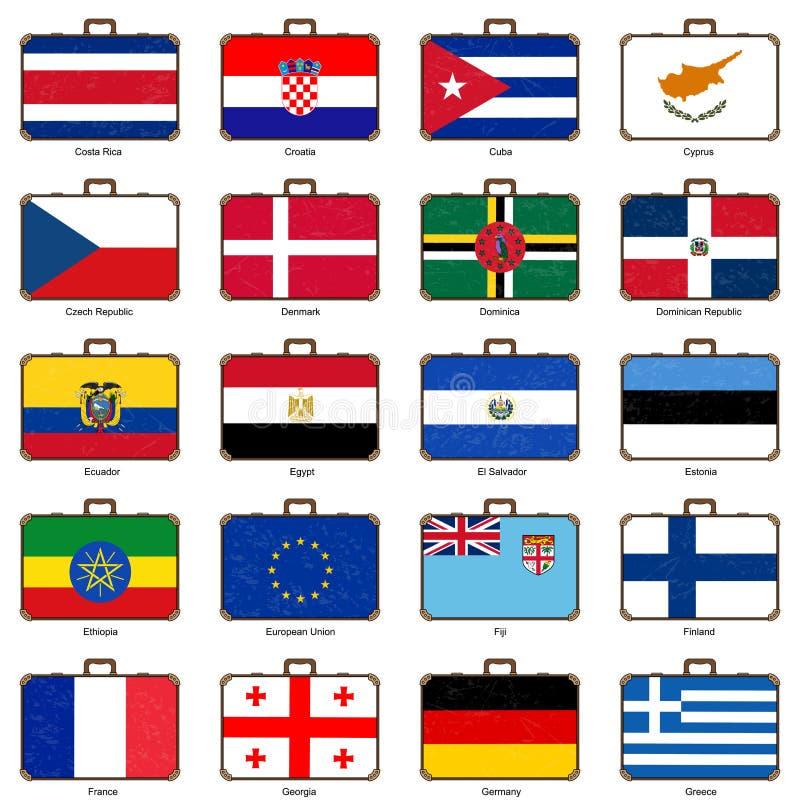 Valise avec le drapeau illustration libre de droits