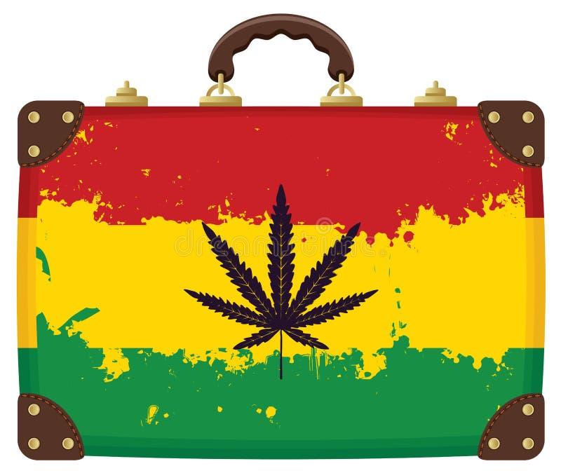 Valise avec le modèle de drapeau de Rasta illustration libre de droits