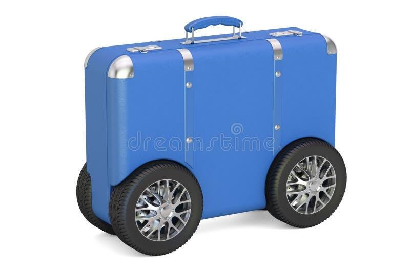 Valise bleue avec des roues de voiture Concept de voyage et de tourisme, 3D au sujet de illustration stock
