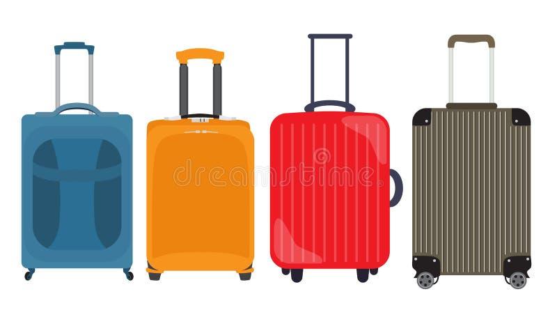 Valise, collection réglée d'icône plate de sac de voyage Illustrati de vecteur illustration stock