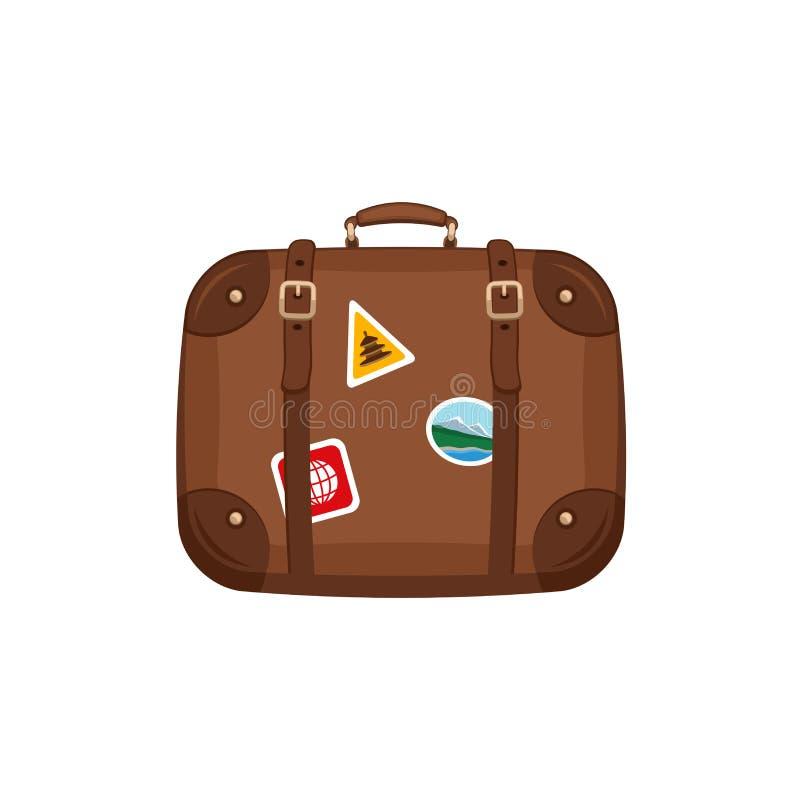 Valise de sac de voyage avec des autocollants sur le fond blanc Bagage de poignée de voyage d'été Équipement de déplacement illustration libre de droits