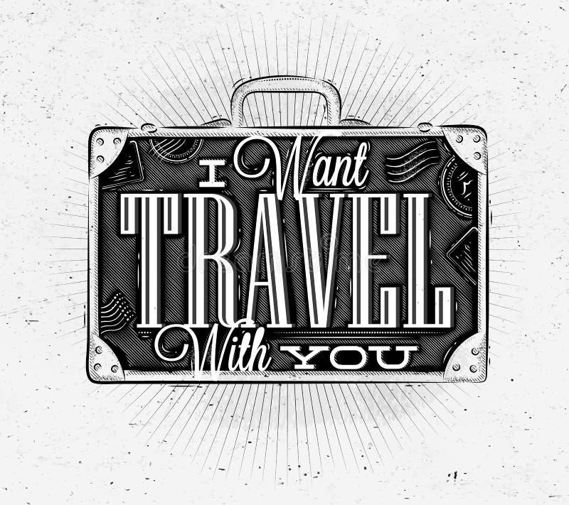 Valise de touristes d'affiche illustration de vecteur
