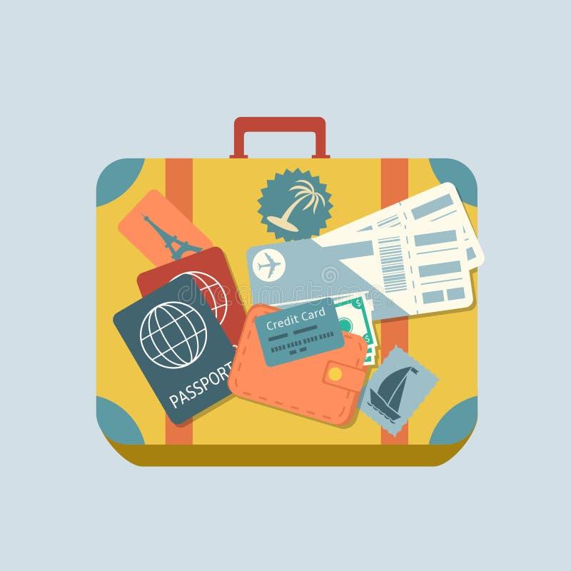 Valise de voyage avec des autocollants illustration libre de droits