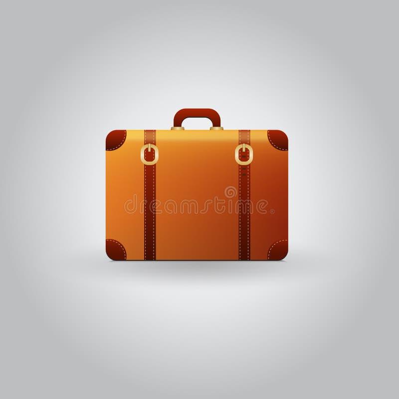 Valise de voyage de vintage de vecteur sur le fond gris illustration de vecteur