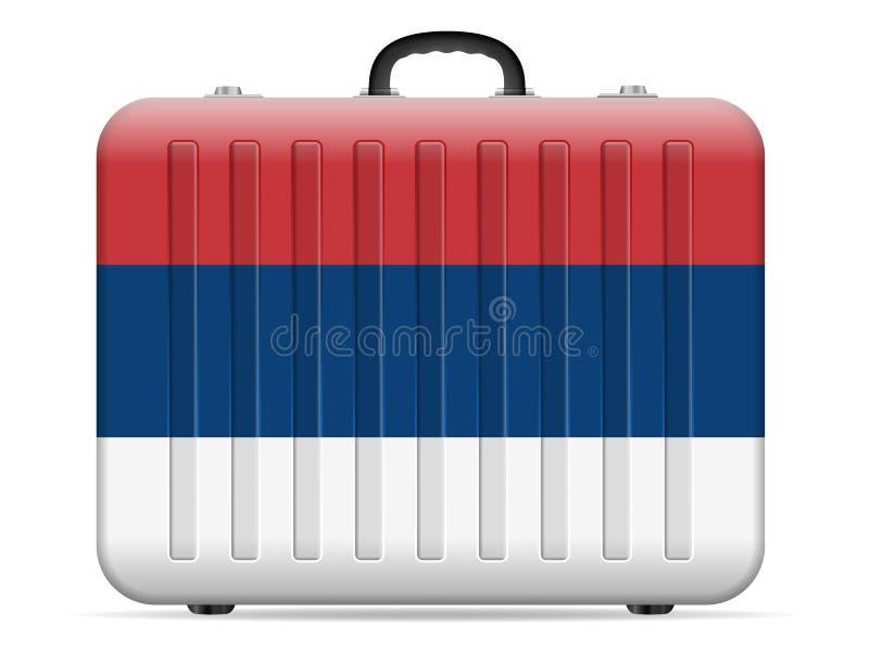 Valise de voyage de drapeau de la Serbie illustration de vecteur