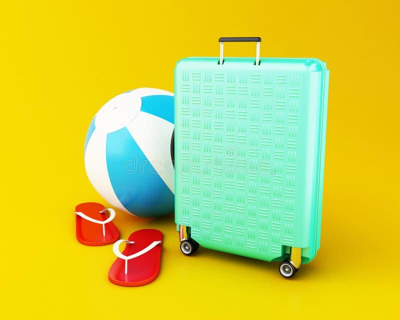 valise du voyage 3d avec du ballon de plage et les bascules électroniques illustration de vecteur