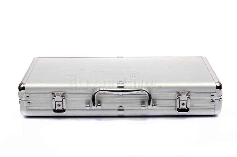 Valise métallique sur le fond blanc, serviette métallique photo stock