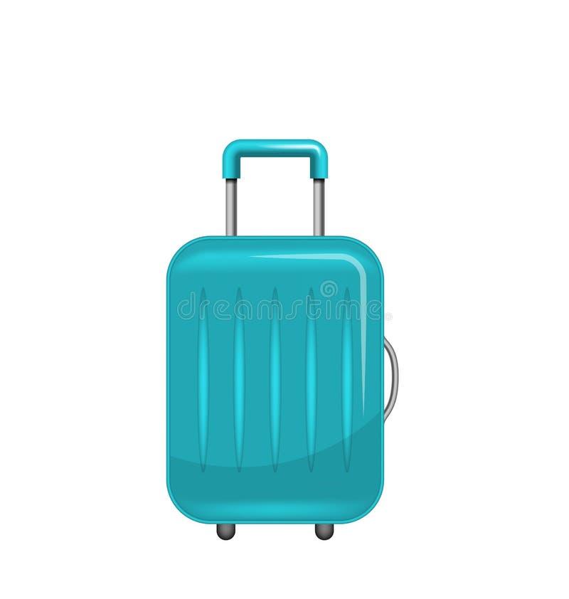 Valise réaliste de polycarbonate, bagages pour le tourisme, d'isolement sur le fond blanc illustration libre de droits