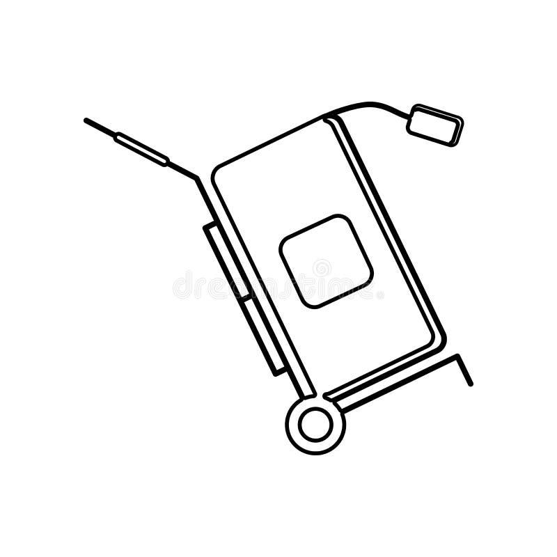 Valise sur une ic?ne de chariot ?l?ment de logistique pour le concept et l'ic?ne mobiles d'applis de Web Contour, ligne mince ic? illustration de vecteur