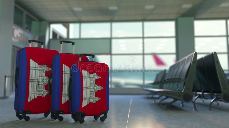 Valises de voyage avec le drapeau du Cambodge Rendu 3D conceptuel de tourisme cambodgien illustration de vecteur