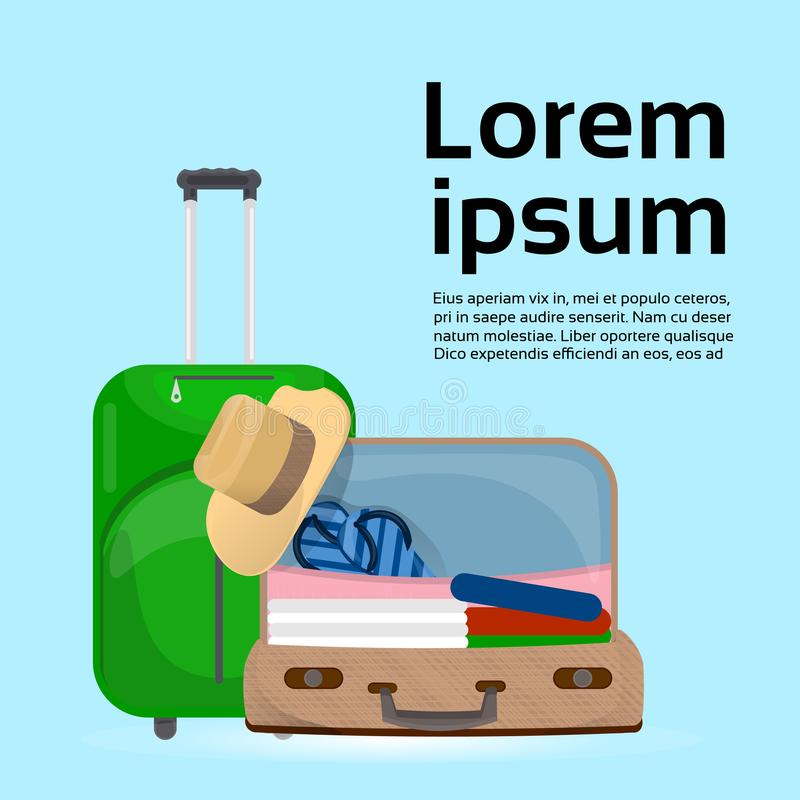 Valises et sacs de bagages au-dessus de fond avec le voyage dans l'espace de copie et le concept de tourisme illustration libre de droits