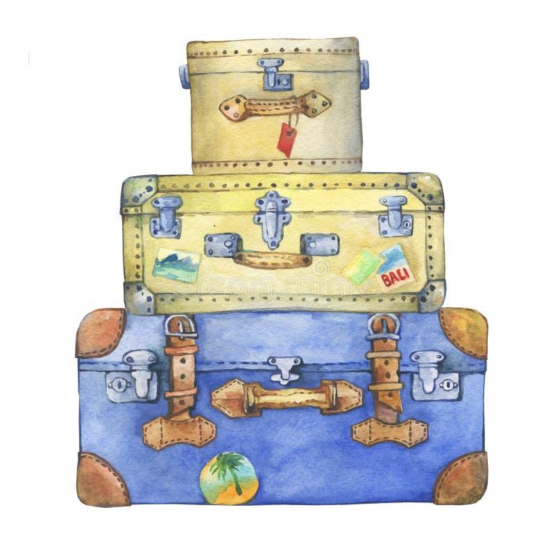 Valises hippies jaunes et bleues démodées avec le label illustration stock