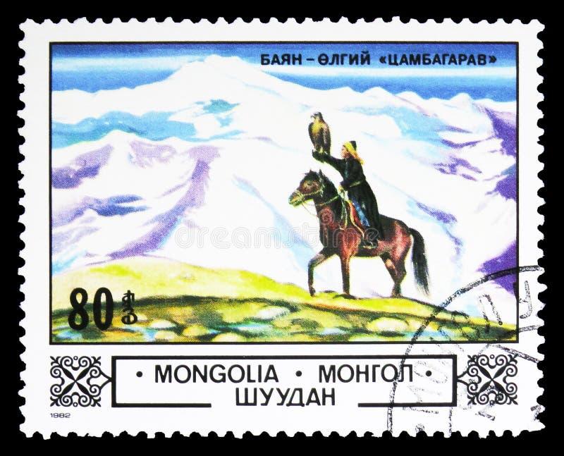 Valkenier in bergen bajan-Olgij, Dieren en landschappen serie, circa 1982 royalty-vrije stock afbeelding