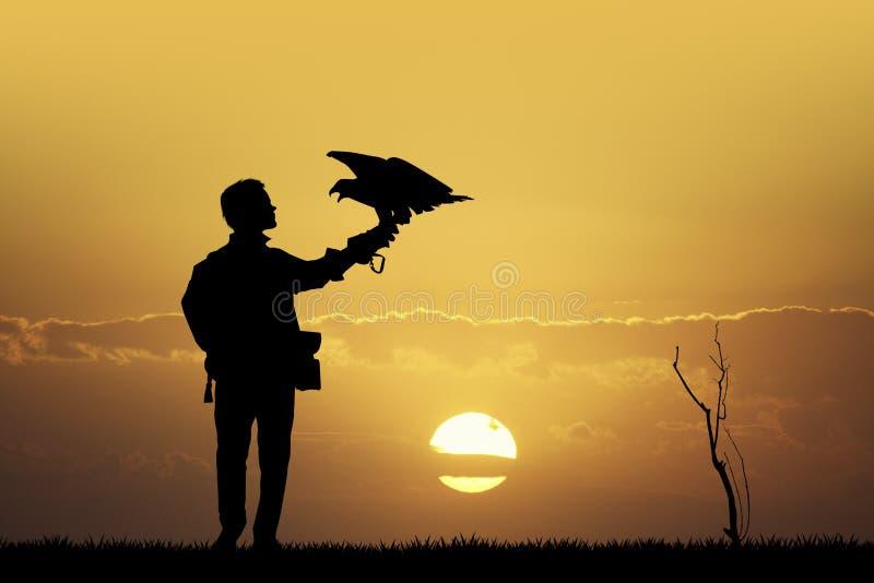 Download Valkenier Bij Zonsondergang Stock Illustratie - Illustratie bestaande uit falconer, rapacious: 54085258