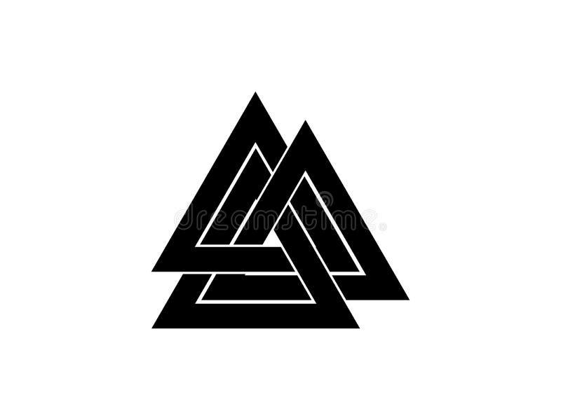 Valknut är ett symbol av slutet för världs` s av trädet Yggdrasil Tecken av guden Odin Norsekultur vektor för triangel för illust royaltyfri illustrationer