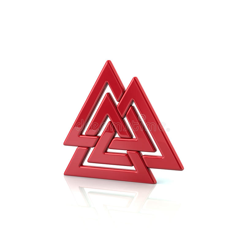 Valknut, czerwony Viking symbol royalty ilustracja