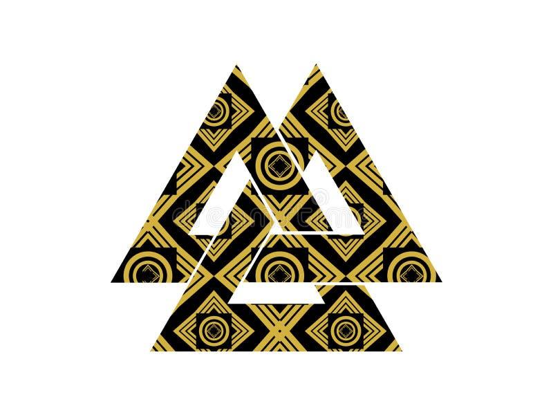 Valknut es un símbolo del world& x27; extremo de s del árbol Yggdrasil Si ilustración del vector
