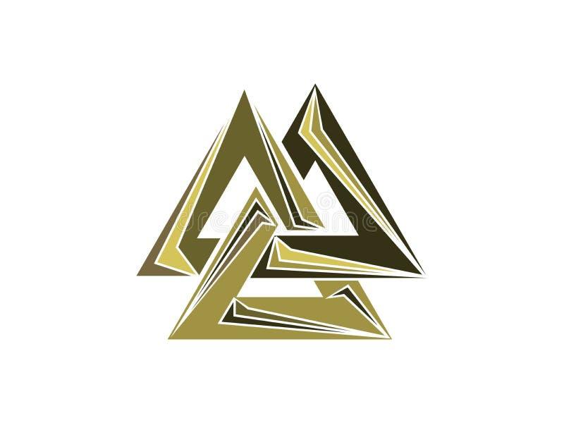 Valknut est un symbole de l'extrémité du ` s du monde de l'arbre Yggdrasil Signe du dieu Odin Culture des norses Logo de triangle illustration de vecteur