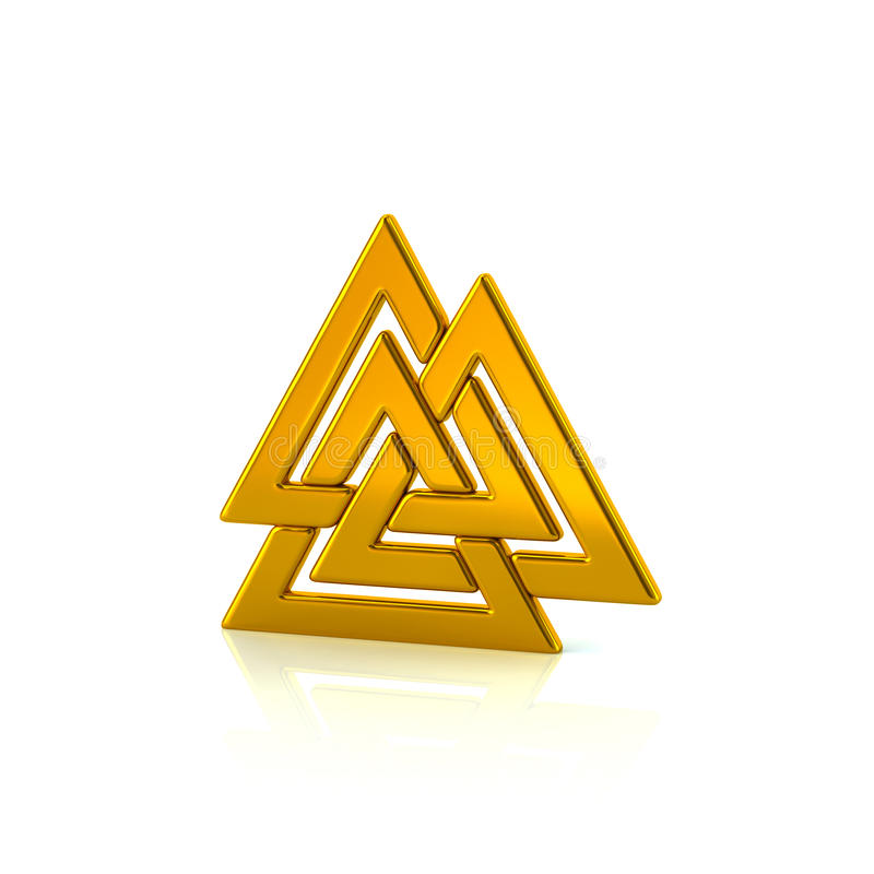 Valknut guld- Viking symbol stock illustrationer