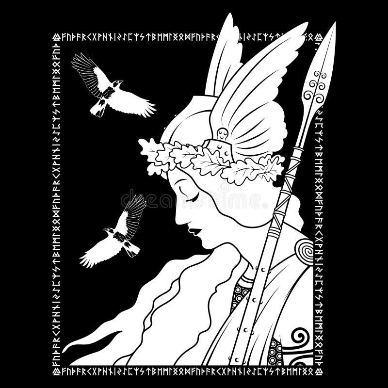 Valkyrie και δύο κοράκι, απεικόνιση στη Σκανδιναβική μυθολογία, που σύρεται στο ύφος Nouveau τέχνης διανυσματική απεικόνιση