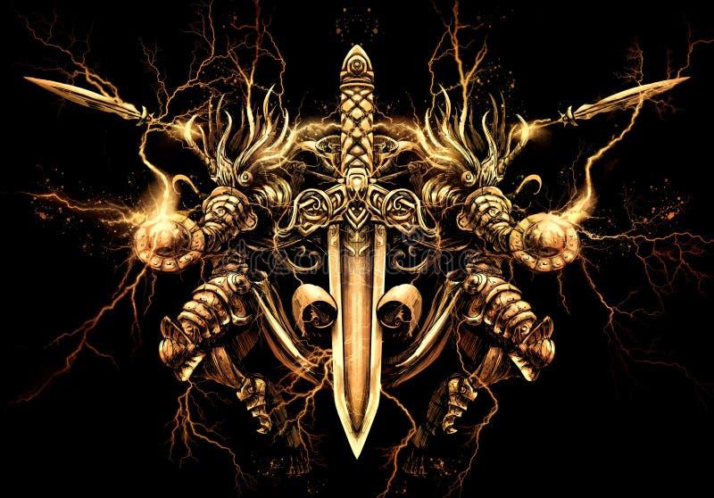 Valkyrie που τυλίγεται στη χρυσή αστραπή ελεύθερη απεικόνιση δικαιώματος