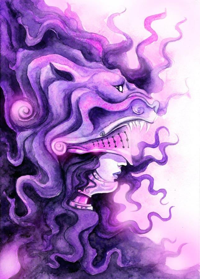 Valkyrie in einer Löwe ` s Maske vektor abbildung