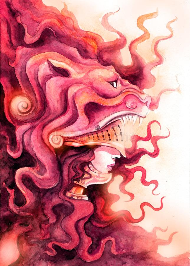 Valkyrie in einer Löwe ` s Maske lizenzfreie abbildung
