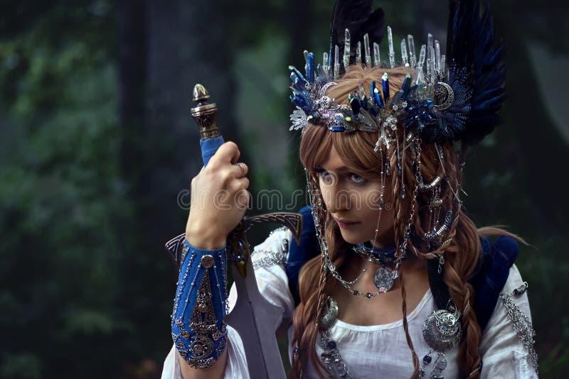 Valkyrie-warrioress im Elsterkostüm lizenzfreie stockfotos