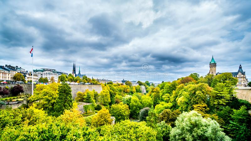 Vallé de la Pétrusse viewed from the Adolphe Bridge in the city of Luxumbourg royalty free stock image