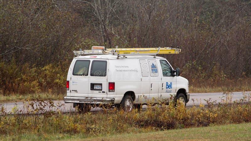Vallée agréable, Canada - 1er novembre 2018 : Fourgon de service garé de Bell Aliant Bell Aliant inc. est une société de communic photo stock