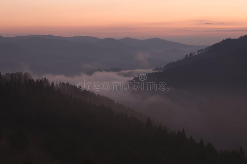 Vallée brumeuse de montagne au lever de soleil photo stock