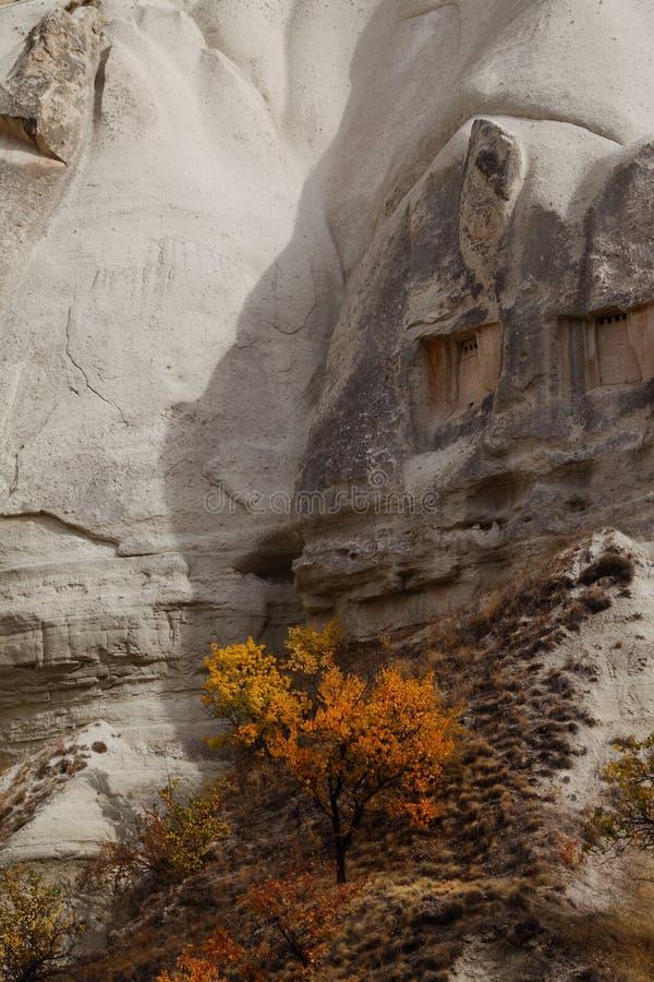 Vallée d'amour dans le village de Goreme, Turquie Paysage rural de Cappadocia photographie stock libre de droits