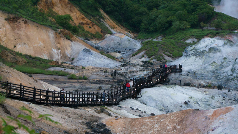 Vallée d'enfer de Jigokudani en été, Noboribetsu, Japon photographie stock