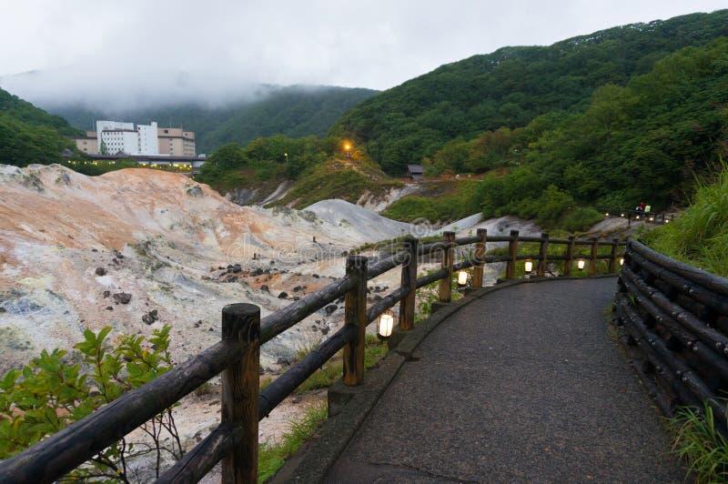 Vallée d'enfer de Jigokudani et hôtel de Daiichi Takimotokan photographie stock libre de droits