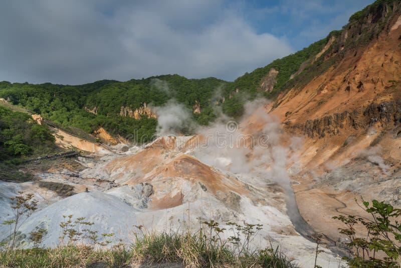Vallée d'enfer de Jigokudani, Noboribetsu, préfecture de Hokkaido, Japon photographie stock libre de droits