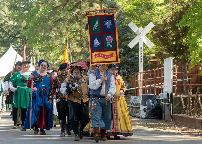 Vallée d'herbe, la Californie, Etats-Unis - 30 octobre 2018 : Reenactors au festival celtique de KVMR, Nevada County Fairgrounds  photographie stock