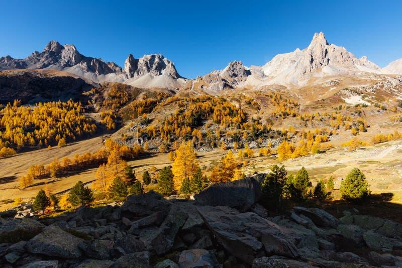 Vallée de la Clarée in France. Vallée de la Clarée during autumn France stock photo