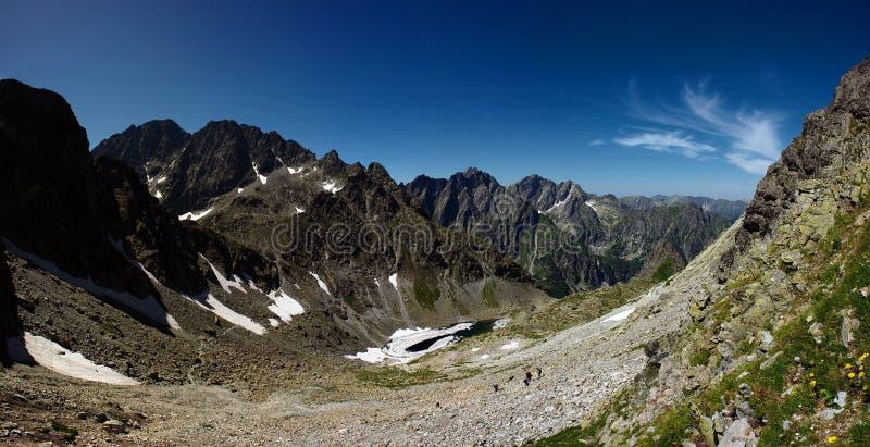 Vallée de montagne avec le lac à moitié figé images libres de droits