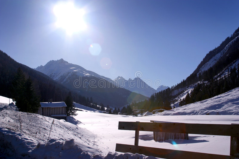 Vallée de montagne d'Ischgl Austia photo stock