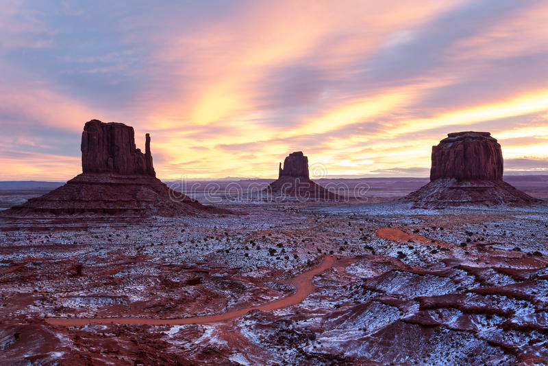 Vallée de monument en hiver images libres de droits