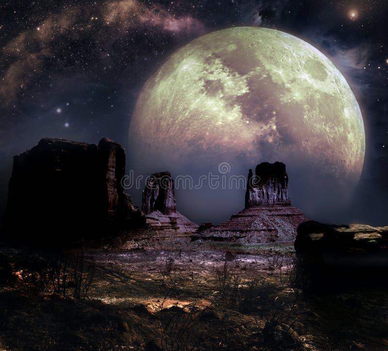 Vallée de monument sous la grande lune illustration libre de droits