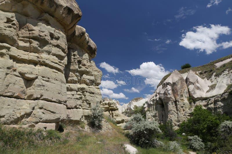 Vallée de pigeons dans Cappadocia images libres de droits