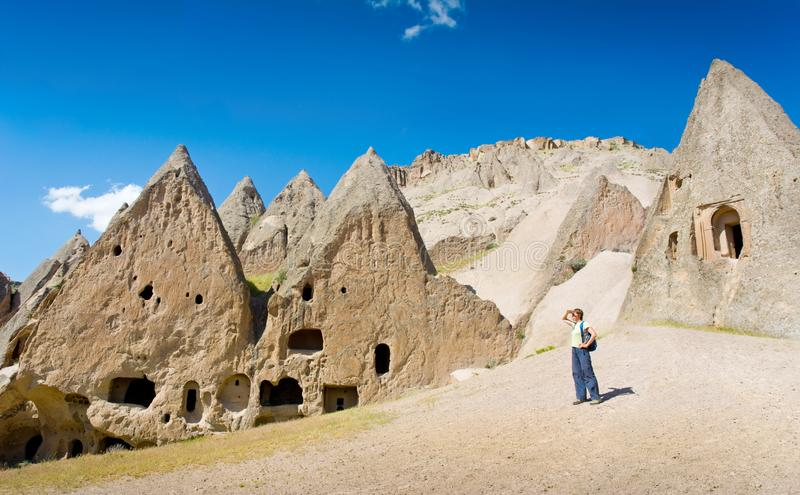 Vallée de Selime et d'Ihlara dans Cappadocia, Anatolie, Turquie photographie stock libre de droits