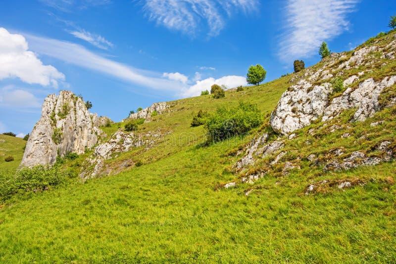 Vallée Eselsburger Tal - roches impressionnantes photographie stock libre de droits