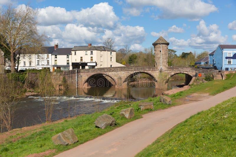 Vallée historique britannique de montage en étoile d'attraction touristique du Pays de Galles de pont de Monmouth image stock